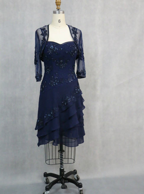 Blue Appliqued 3/4 Sleeve Knee Length Mother of the Bride Dress With Jacket