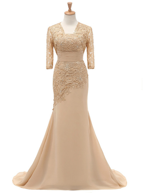 Three Quarters Half Sleeves Lace Mother Of the Bride Dress With Jacket