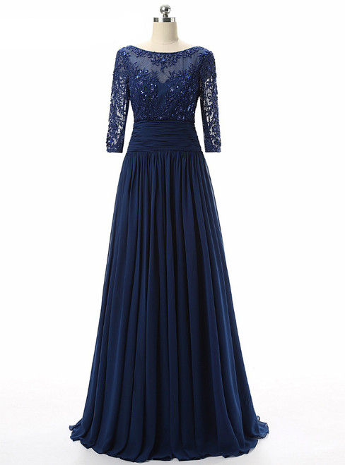 Blue Chiffon Scoop Neck Lace Short Sleeve Mother Of The Bride Dress