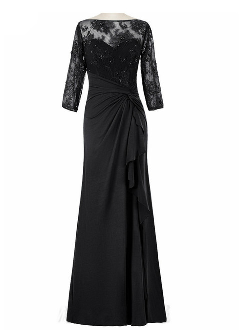 Black Chiffon Lace Beaded Half Sleeves Mother Of The Bride Dresses