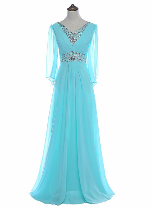 Sky Blue Beaded Long Sleeve Chiffon Mother of the Bride Dresses