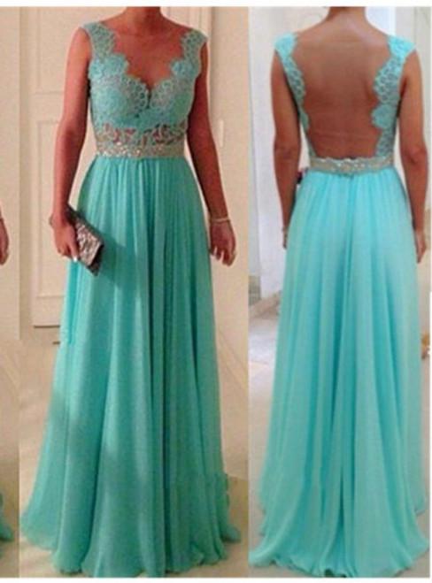 Custom Made A line Long Blue Lace Prom Dresses  Lace Bridesmaid Dresses