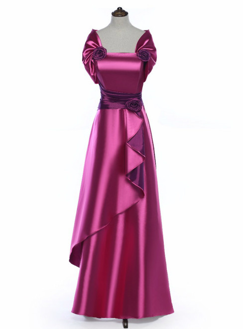 Elegant Rose Satin Flower Mother Of The Bride Dress With Jacket