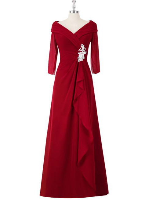 A Line Red Full Sleeve V-Neck Long Mother of the Bride Dresses