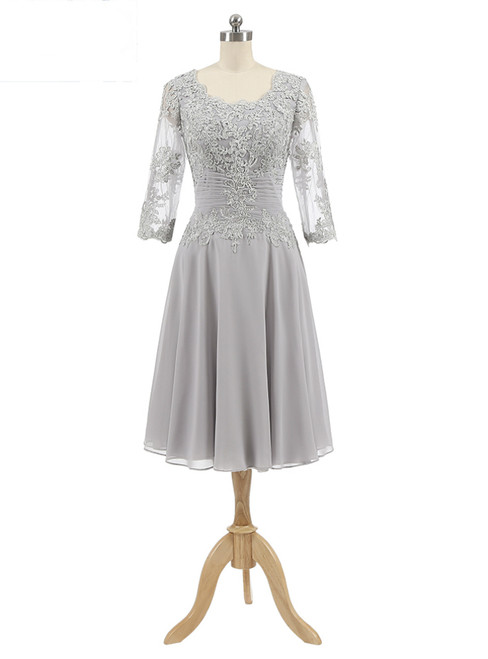 Gray Chiffon Appliques 3/4 Sleeve Knee Length Mother of The Bride Dress