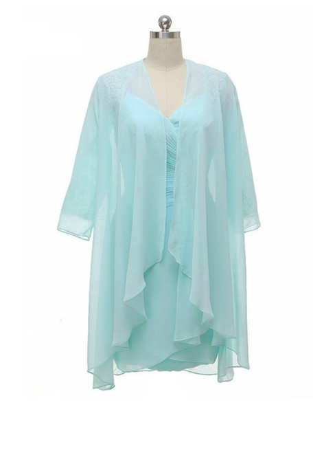Mint Knee Length Modest Long Sleeve Mother Of The Bride Dresses With Jacket