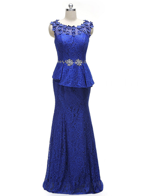Elegant Royal Blue A-line Half Sleeves Lace Mother Of The Bride Dresses
