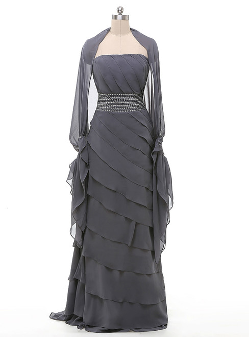 A-Line Gray Chiffon Long Two Piece Mother Of The Bride Dress