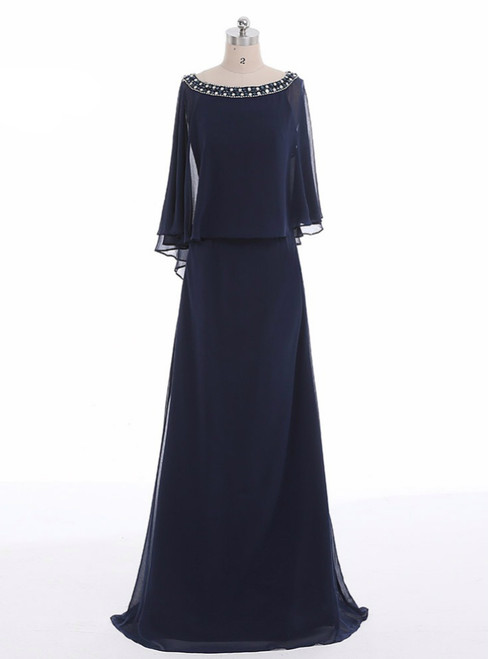 Navy A-line Beading Chiffon Long Blue Mother Of The Bride Dresses