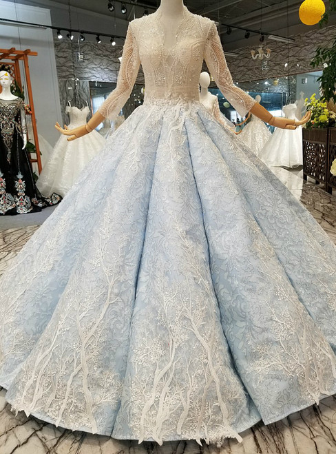 Blue Ball Gown Short Sleeve Sequins Lace With Beading Wedding Dress