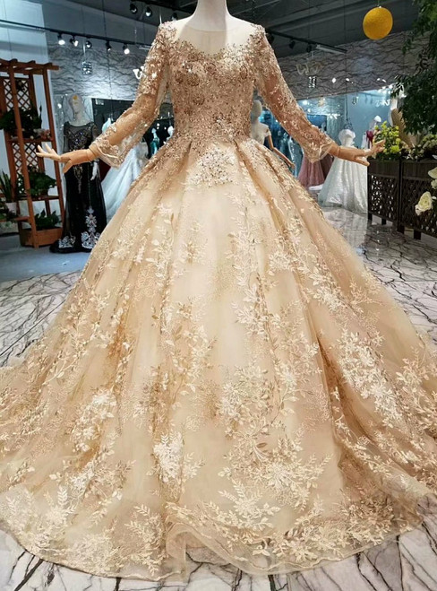 Ball Gown Long Sleeve Sequins Appliques Floor Length Wedding Dress