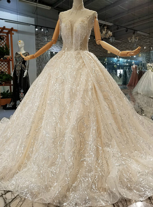 Champagne Ball Gown Sequins High Neck Long Train Wedding Dress