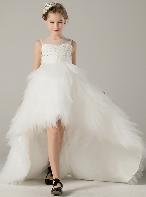 A-Line White Hi Lo Tulle Sleeveless With Crystal Flower Girl Dress