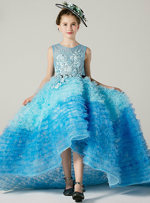 A-Line Blue Hi Lo Tulle Appliques With Sash Flower Girl Dress