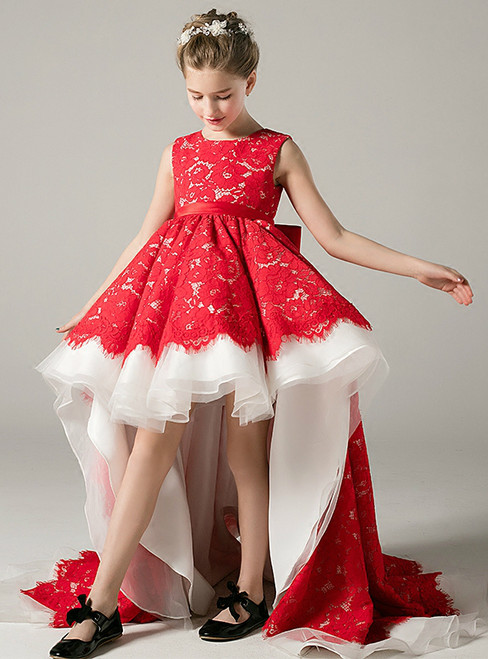 A-Line Hi Lo Red Lace Sleeveless With Bow Flower Girl Dress