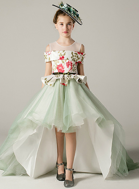 A-Line Hi Lo Green Tulle Print Flower Girl Dress With Sash