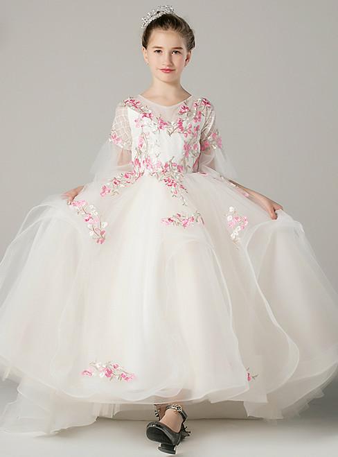 A-Line White Tulle Short Sleeve Appliques Long Flower Girl Dress