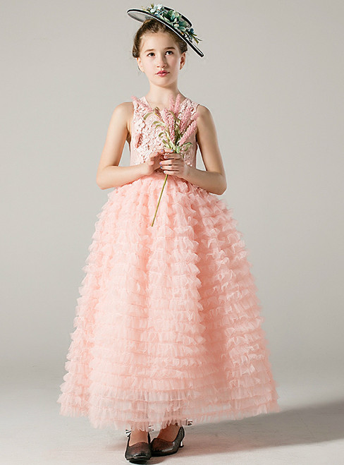 A-Line Pink Tulle Lace Appliques Sleeveless Long Flower Girl Dress