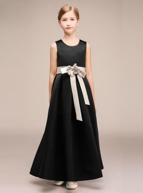 Simple A-Line Black Satin Sleeveless Long Flower Girl Dress