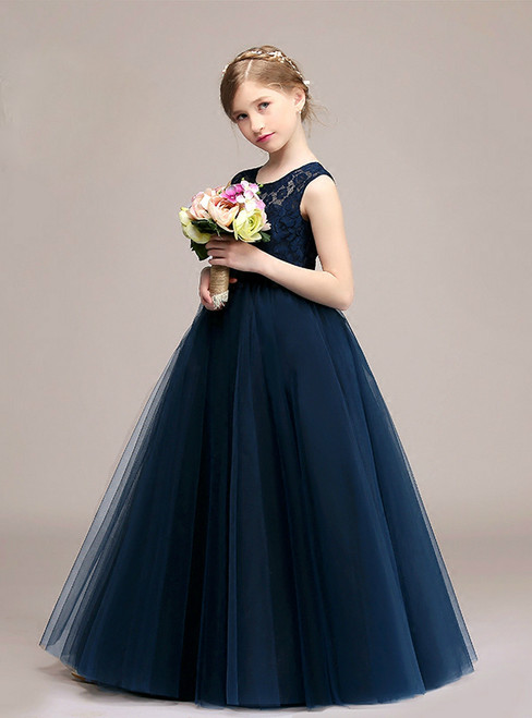 A-Line Blue Tulle Lace Sleeve Long Flower Girl Dress With Sash