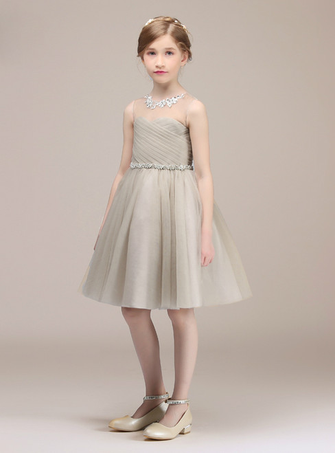 Short A-Line Gray Tulle Pleats Knee Length Flower Girl Dress