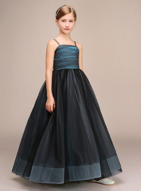 Blue Black Tulle Spaghetti Straps Floor Length Flower Girl Dress