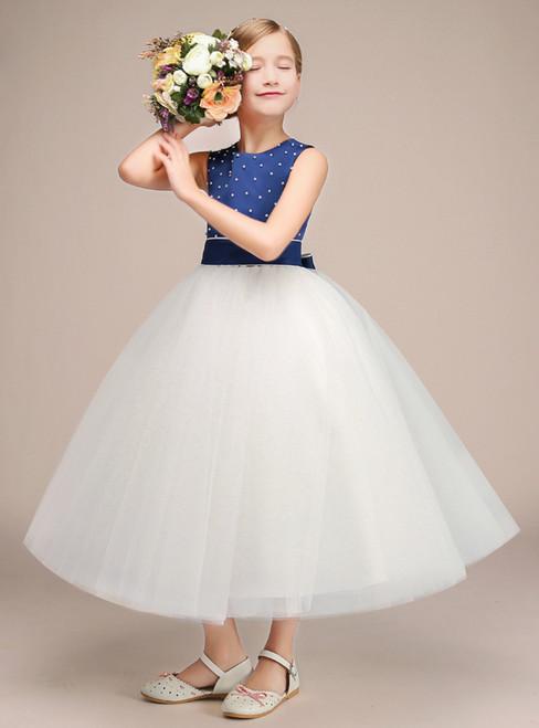 Blue Satin White Tulle Long Sleeveless Flower Girl Dress With Bow