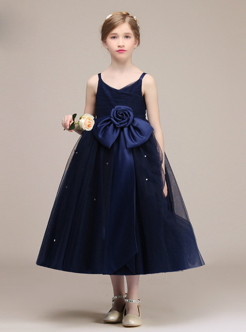 Navy Blue Spaghetti Straps Tulle Tea Length Flower Girl Dress