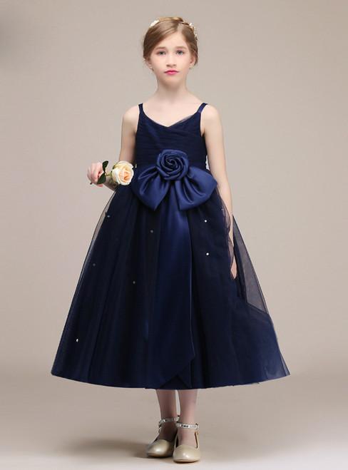 Navy Blue Spaghetti Straps Tulle Tea Length Flower Girl Dress