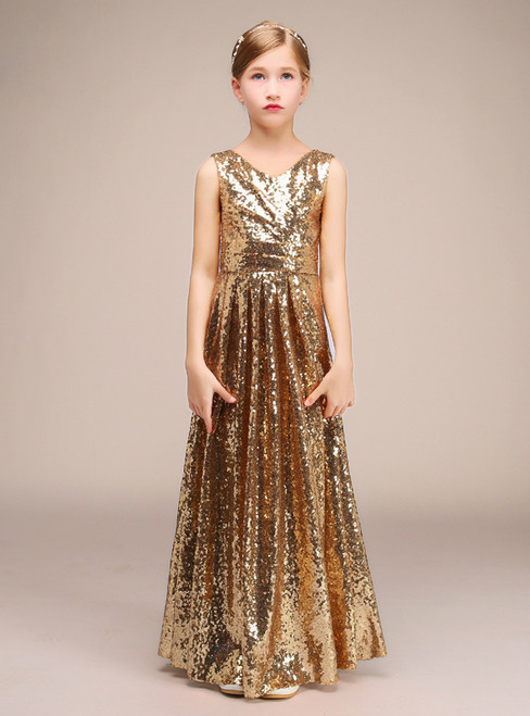 A-Line Gold Sequins V-neck Floor Length Flower Girl Dress