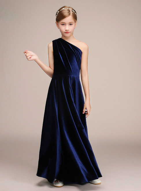 Blue Velvet One Shoulder Floor Length Flower Girl Dress