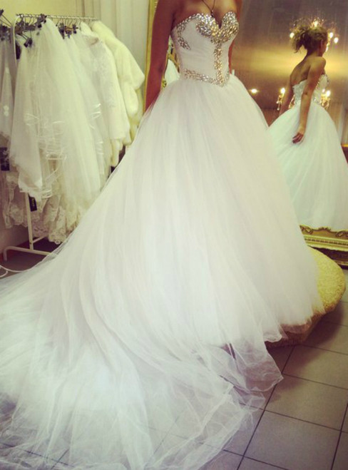 Formal White Ball Gown Sweetheart With Crystal Wedding Dress