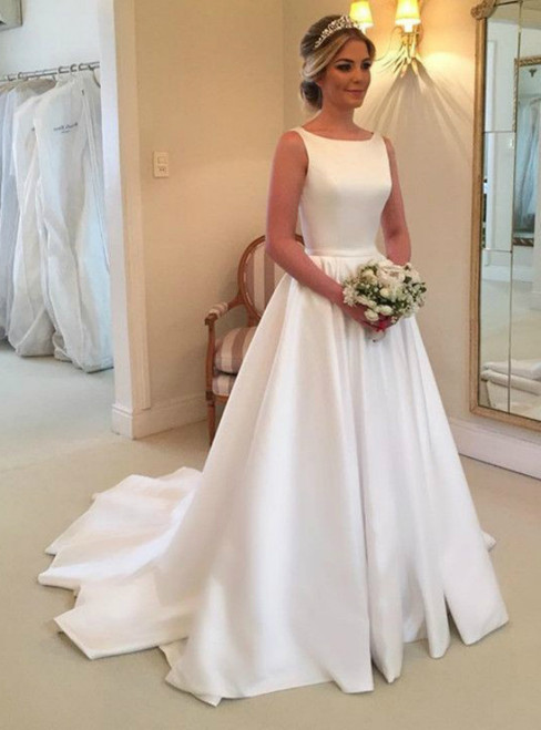 Simple A-Line White Satin Backless With Bow Wedding Dress