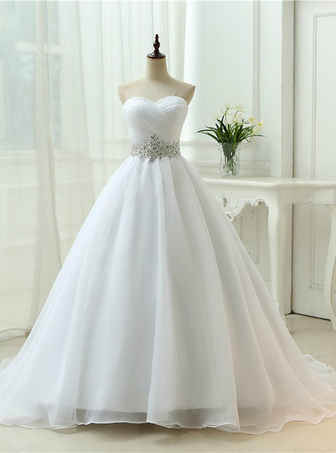 Organza Sweetheart Neck Open Back Crystal Wedding Dresses