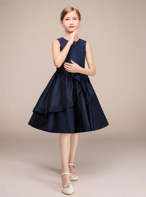 A-Line Blue Satin With Bow Knee Length Flower Girl Dress