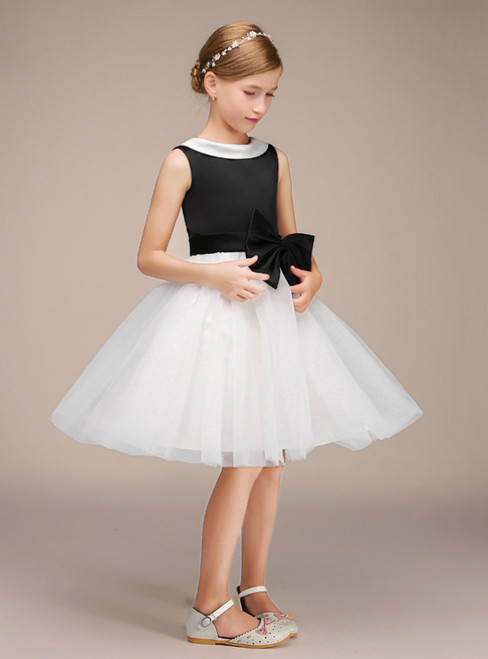 Simple Black Satin White Tulle Knee Length Flower Girl Dress