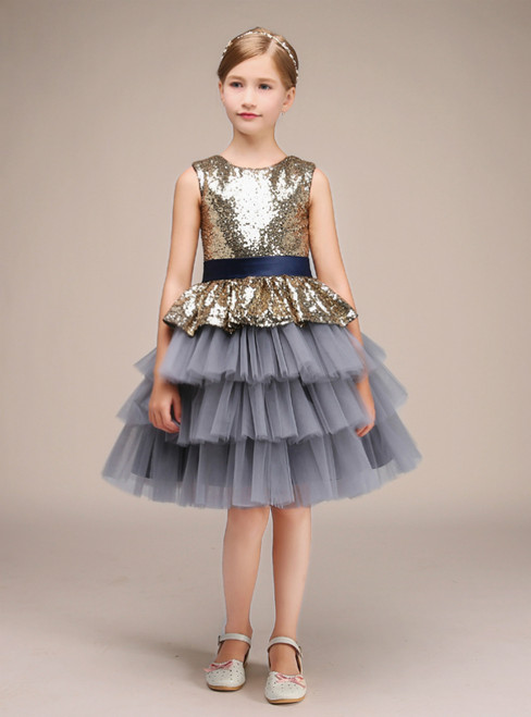 A-Line Gray Tulle Gold Sequins With Sash Knee Length Flower Girl Dress
