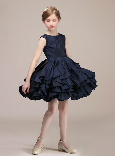 A-Line Blue Satin Ruffle Knee Length Flower Girl Dress