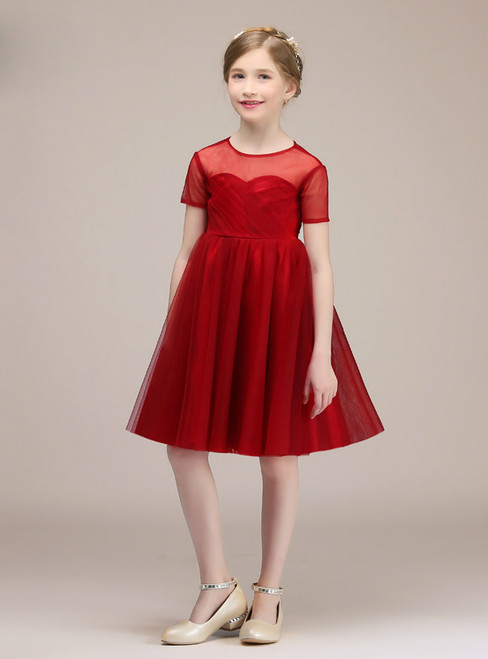 Red Tulle Short Sleeve Knee Length Backless Flower Girl Dress