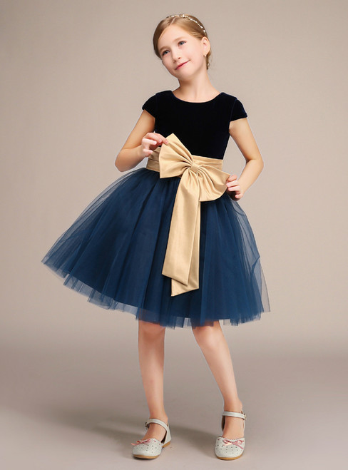 Blue Velvet Tulle Cap Sleeve With Bow Knee Length Flower Girl Dress