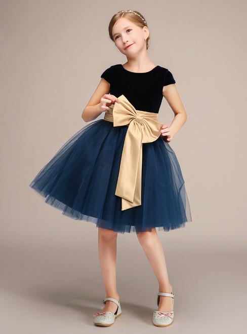 Blue Velvet Tulle Cap Sleeve With Bow Knee Length Flower Girl Dress