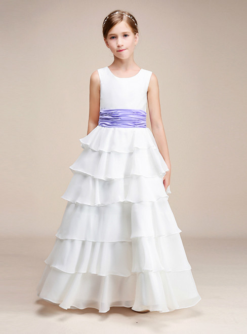 A-Line White Chiffon Ruffle With Flower Floor Length Girl Dress