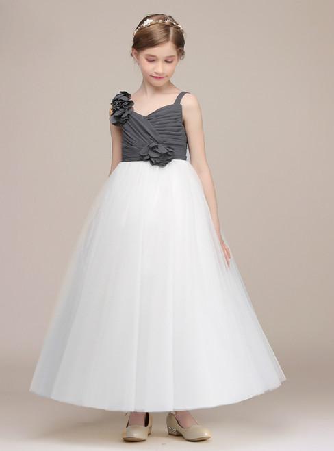 White Gray Tulle Asymmetrical Neck Ankle Length Girl Dress With Flower