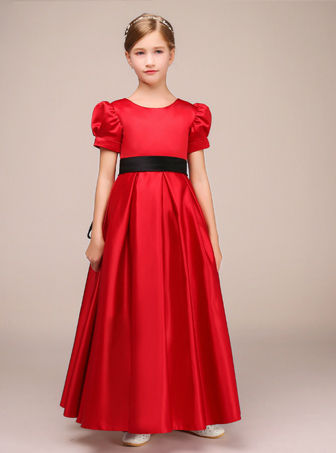 A-Line Red Satin Puff Sleeve Wit Sash Ankle Length Flower Girl Dress