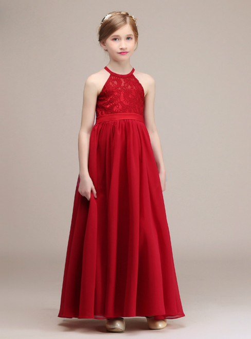 Red Halter Satin Lace Chiffon Backless Ankle Length Girl Dress