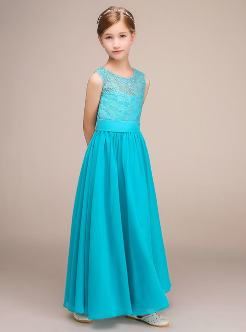 Simple Blue Lace Chiffon Sleeveless Ankle Length Flower Girl Dress