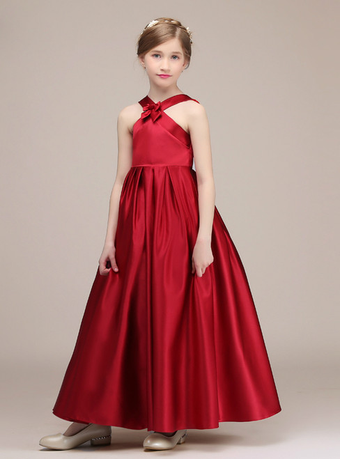 A-Line Red Halter Satin Sleeveless ankle Length Flower Girl Dress