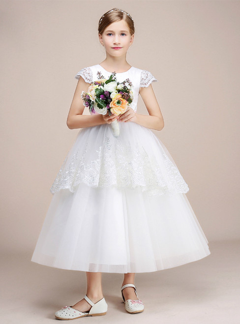 White Tulle Lace Cap Sleeve Tea Length Flower Girl Dress With Bow