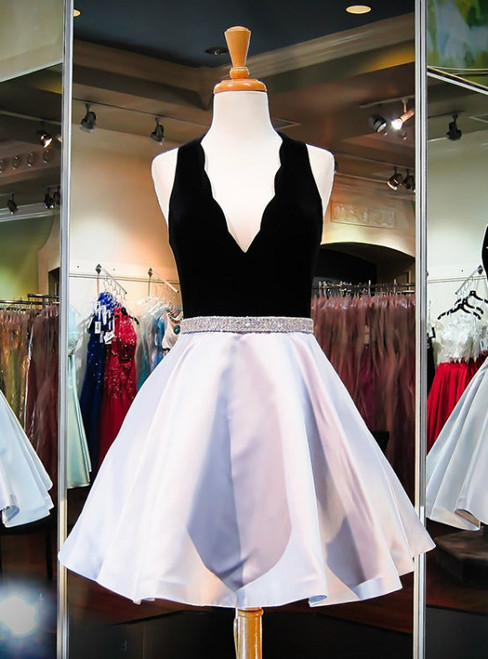 Prom Dress with Beadings Prom Gowns  Black Velour Silver Satin Prom Dress