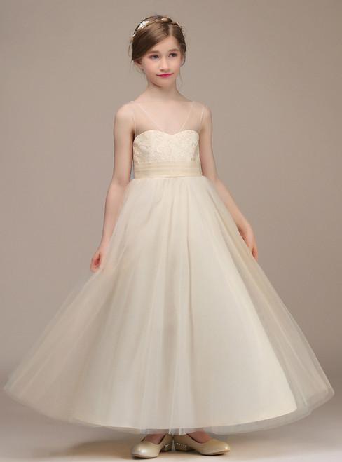 A-Line Champagne V-neck Backless Ankle Length Flower Girl Dress
